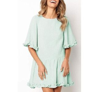 Ruffles Decor - Plain Simple Loose Fit Mini Dress